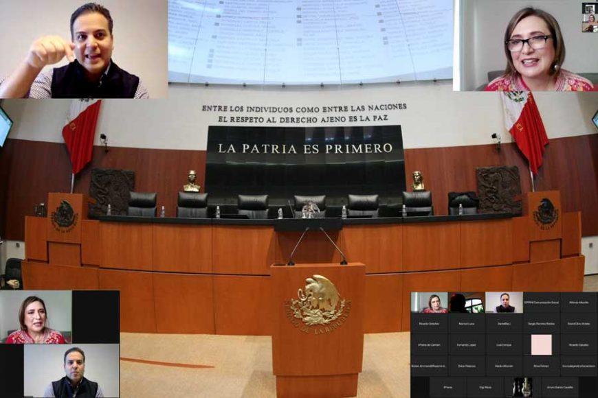 Senadores del GPPAN hablan en conferencia sobre los siguientes pasos para la consulta popular para el IBU, Xóchitl Gálvez Ruiz, Damián Zepeda Vidales