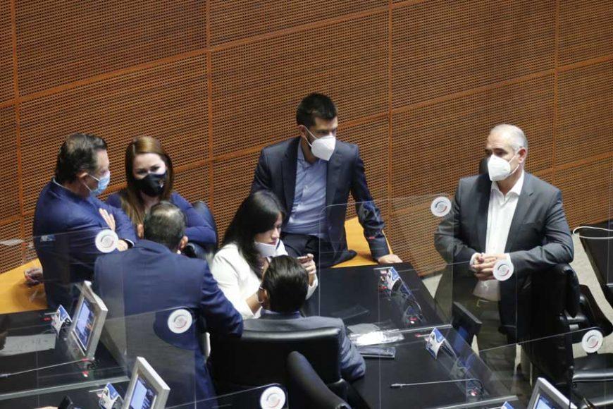 Senadoras y senadores durante la sesión ordinaria