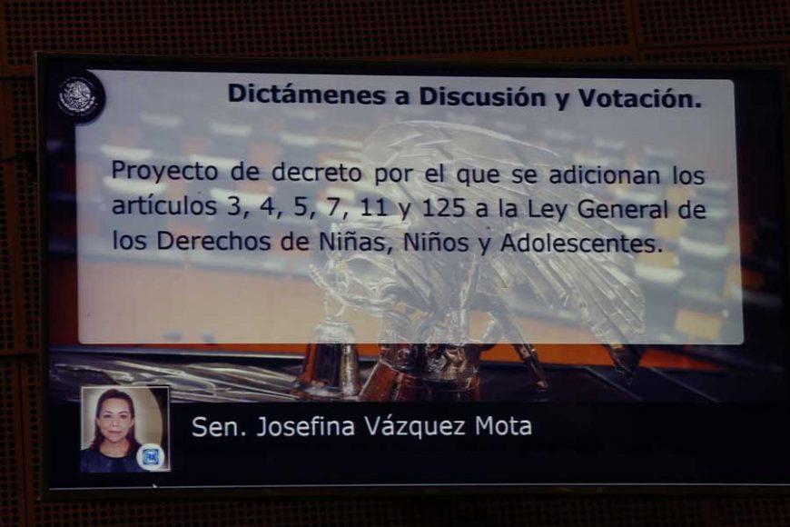 Intervención en tribuna de la senadora Josefina Eugenia Vázquez Mota para presentar dictamen de las Comisiones Unidas de Derechos de la Niñez y de la Adolescencia y de Estudios Legislativos, Segunda, con proyecto de decreto por el que se adicionan los artículos 3, 4, 5, 7, 11 y 125 de la Ley General de los Derechos de Niñas, Niños y Adolescentes, en materia de primera infancia.