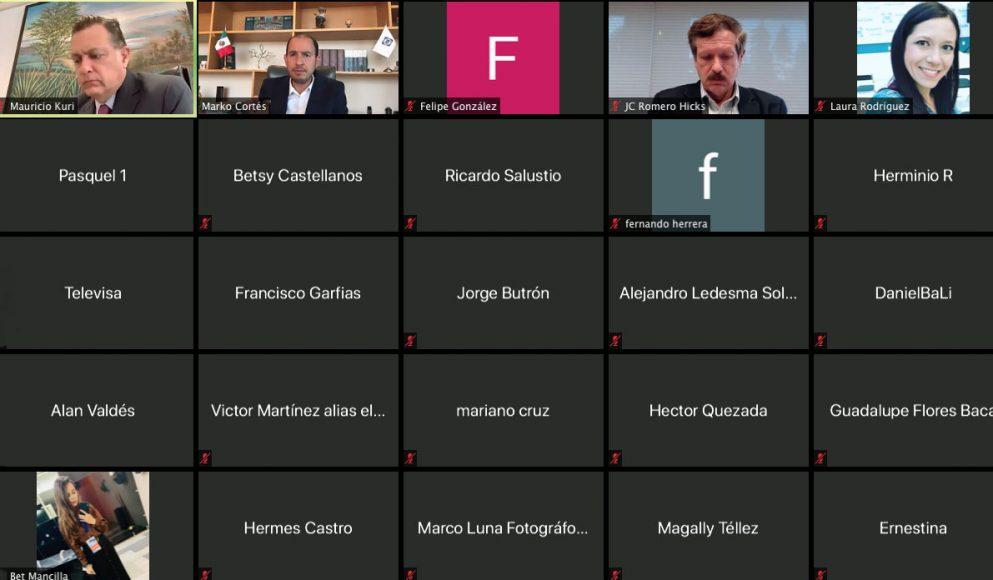 Coordinador de los senadores del PAN, Mauricio Kuri González, durante la conferencia de prensa virtual conjunta con el presidente del partido, Marko Cortés Mendoza, y el coordinador de la bancada panista en la Cámara de Diputados, Juan Carlos Romero Hicks.