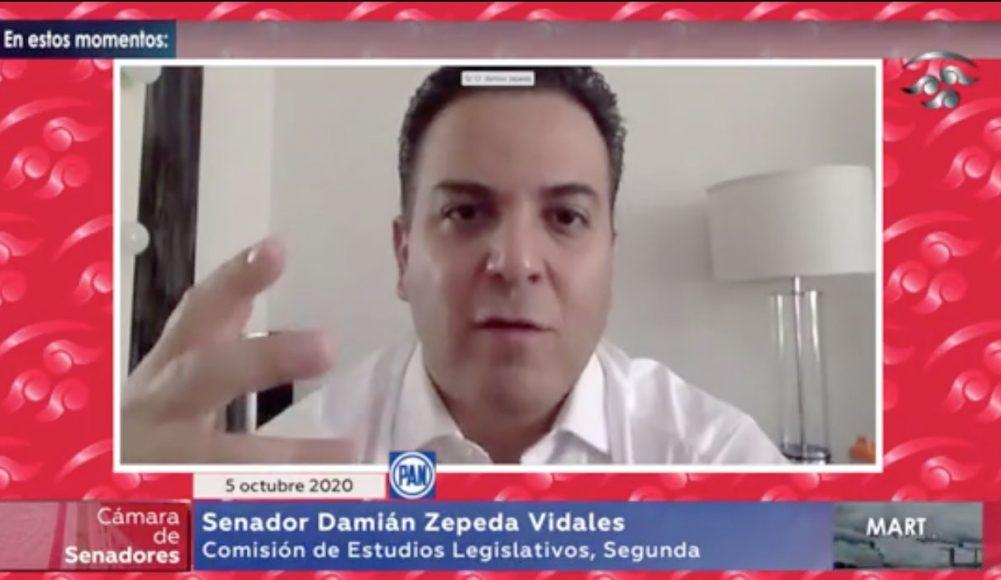 El senador panista Damián Zepeda Vidales, durante su participación en la reunión de trabajo de las Comisiones unidas para la Igualdad de Género, y de Estudios Legislativos Segunda.