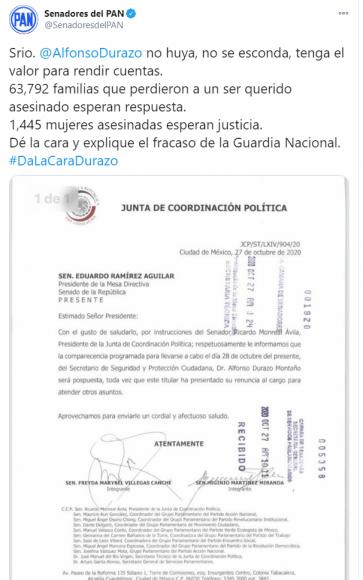 2020.10.27 TWEET GPPAN RECLAMO A DURAZO