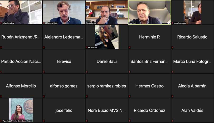 Versión de la participación inicial del coordinador de los senadores del PAN, Mauricio Kuri González, durante la conferencia de prensa conjunta con el presidente del partido, Marko Cortés Mendoza, y el coordinador de los diputados panistas, Juan Carlos Romero Hicks.