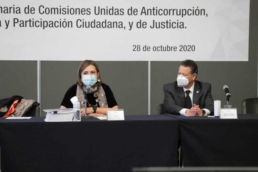 Participación de la senadora Xóchitl Gálve Ruiz y el senador Damián Zepeda Vidales, durante la reunión Comisiones Unidas de Anticorrupción, Transparencia y Participación Ciudadana, y Justicia.