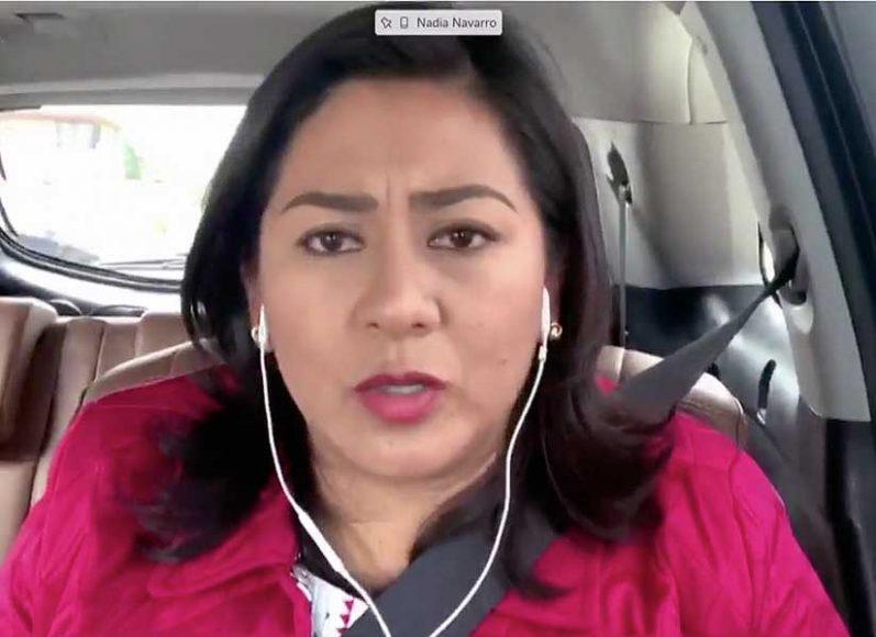 Senadora Nadia Navarro Acevedo, al participar durante la Comisión de Marina y de Gobernación.