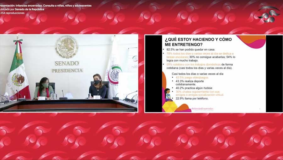 """La senadora del PAN Josefina Vázquez Mota, presidenta de la Comisión de Derechos de la Niñez y de la Adolescencia, durante la presentación de Resultados de la Consulta """"Infancias Encerradas, en el marco de la emergencia sanitaria por COVID-19""""."""