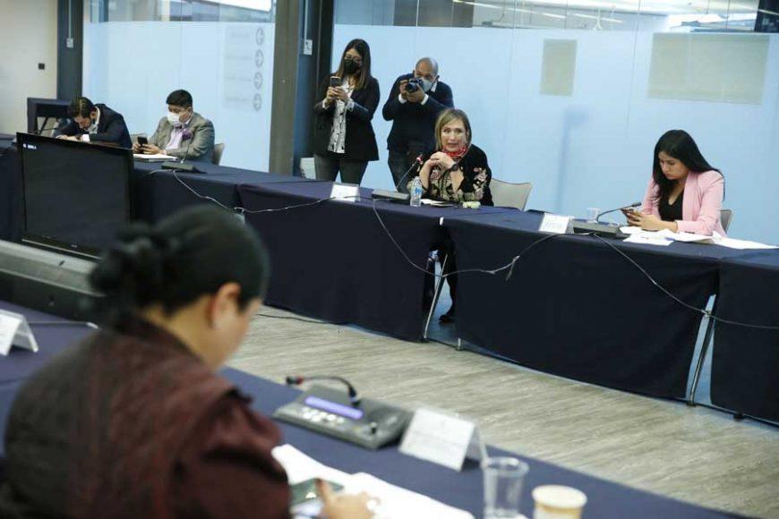Participación de las senadoras del PAN Guadalupe Saldaña Cisneros, Indira Rosales San Román, Nadia Navarro Acevedo y Xóchitl Gálvez Ruiz, durante la reunión Extraordinaria de la Comisión de Gobernación.