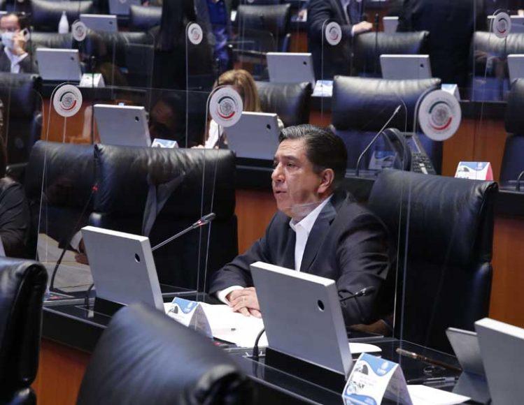 Intervención desde su escaño del senador Marco Antonio Gama Basarte