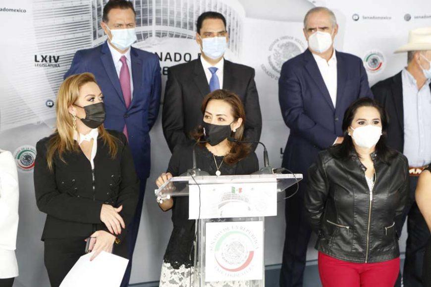 Conferencia de prensa ofrecida por senadoras y senadores del GPPAN, encabezados por su Coordinador, Mauricio Kuri González, Morena y sus aliados impiden diálogo y parlamento abierto sobre fideicomisos