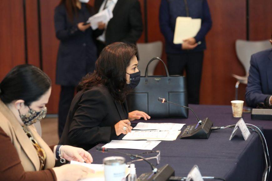 Participación de las senadoras del PAN Guadalupe Saldaña Cisneros e Indira Rosales San Román, durante la reunión Extraordinaria de la Comisión de Gobernación.