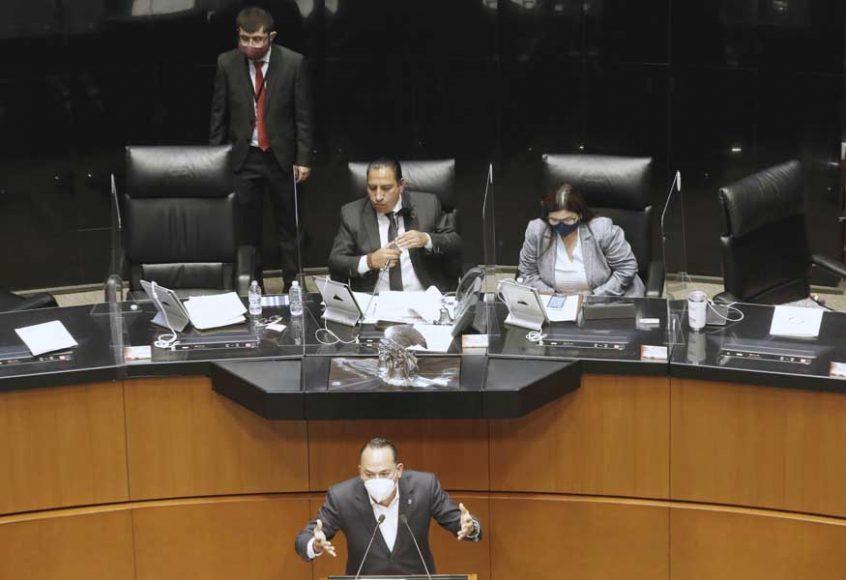 Intervención en tribuna del senador Erandi Bermúdez Méndez para referirse al voto particular del senador José Alejandro Peña Villa, al proyecto que reforma los artículos 108 y 111 de la Constitución Política de los Estados Unidos Mexicanos.