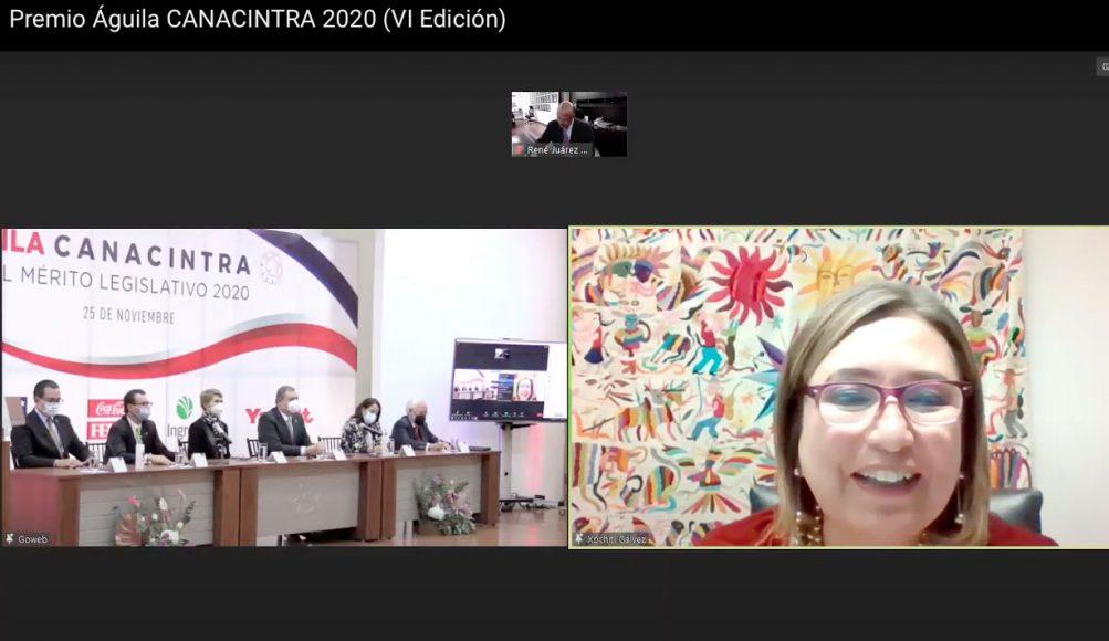 Intervención de la senadora Xóchitl Gálvez Ruiz, al recibir el Premio Águila Canacintra al Mérito Legislativo 2020.