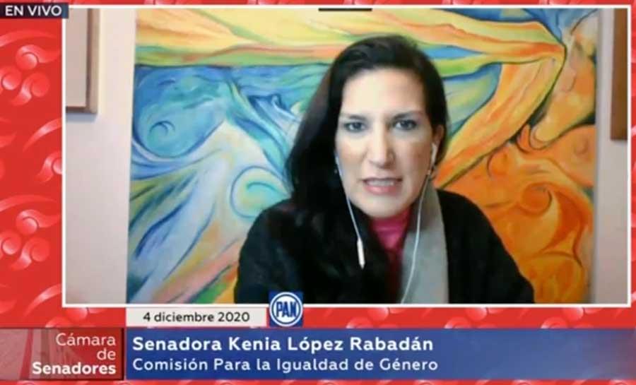 Senadora Kenia López Rabadán, durante la reunión virtual de comisiones unidas para la Igualdad de Género y de Estudios Legislativos Primera.