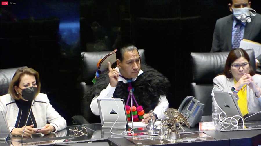 Senadoras y senadores del Grupo Parlamentario del PAN, durante la sesión ordinaria a distancia