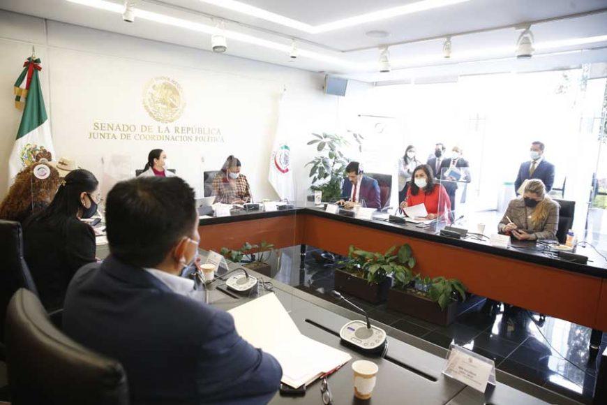 Senadora Nadia Navarro y senador Damián Zepeda Vidales, durante la reunión de comisiones unidas de Gobernación y de Estudios Legislativos Segunda, para referirse al proyecto de dictamen a la iniciativa con proyecto de decreto por el que se adicionan diversas disposiciones de la Ley de Seguridad Nacional, presentada por el Ejecutivo Federal.