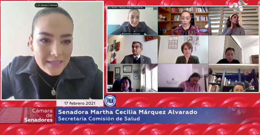Las senadoras Martha Cecilia Márquez, Alejandra Reynoso, Lilly Téllez, así como el senador Francisco Javier Salazar Sáez, durante los trabajos de la Comisión de Salud.