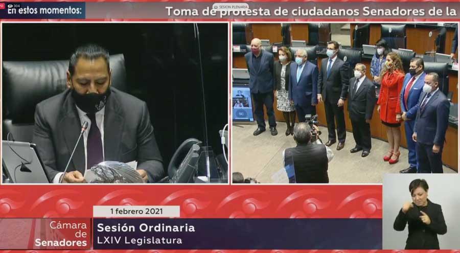 El C. Jesús Horacio González rinde protesta como senador de la República en sustitución del senador con licencia Víctor Fuentes Solís.
