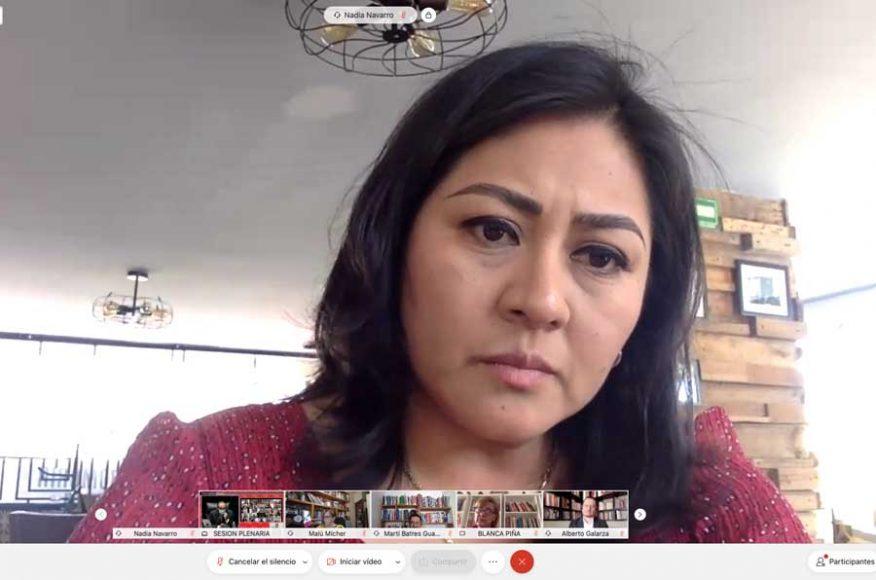 IMG_000Senadora Nadia Navarro Acevedo al intervenir en la sesión ordinaria.32