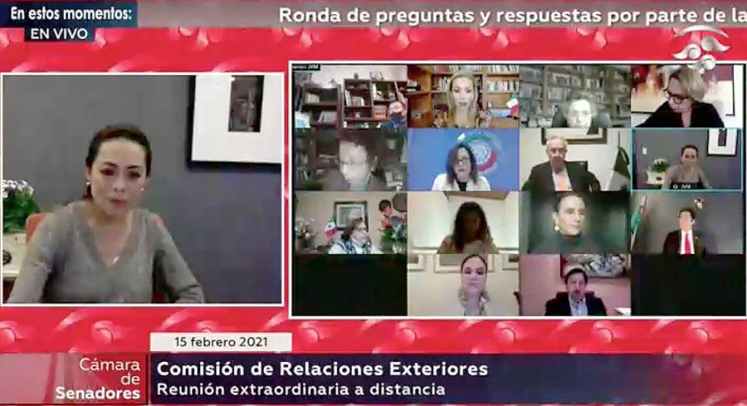 Senadora Josefina Vázquez Mota y la senadora Alejandra Reynoso Sánchez durante la reunión de trabajo con la ciudadana Carmen de la Soledad Moreno Toscano, designada como Subsecretaria de Relaciones Exteriores.