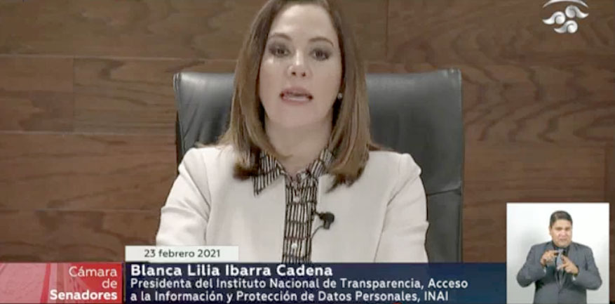 Intervención de la senadora Xóchitl Gálvez Ruiz, para formular preguntas a la Comisionada Presidenta del Instituto Nacional de Transparencia, Acceso a la Información y Protección de Datos Personales.