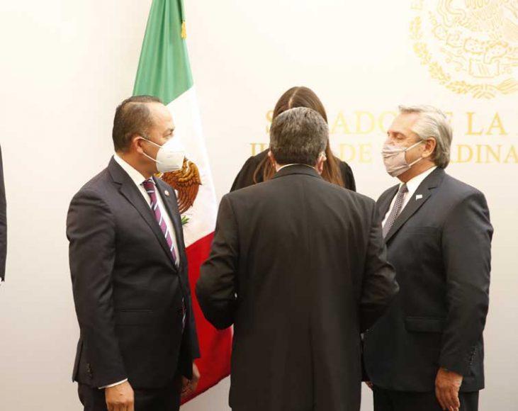 Senador Erandi Bermúdez Méndez, durante la visita del presidente de Argentina