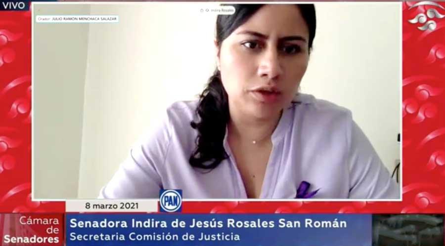 Senadora Indira Rosales San Román, al moderar la reunión a distancia de las comisiones unidas de Justicia y de Estudios Legislativos Segunda al participar en la discusión del dictamen que expide la Ley de la Fiscalía General de la República.