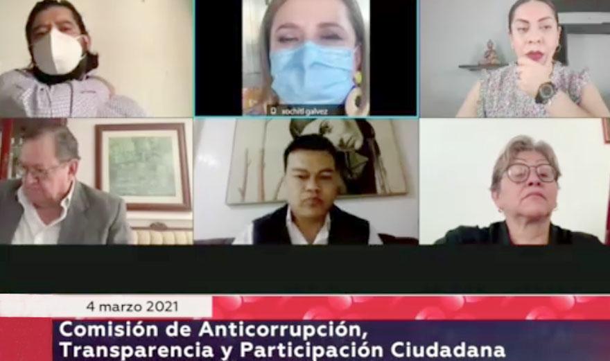 Senadora Xóchitl Gálvez Ruiz durante la reunión extraordinaria de la Comisión de Anticorrupción, Transparencia y Participación Ciudadana, que preside el senador Juan Zepeda, del Grupo Parlamentario de Movimiento Ciudadano