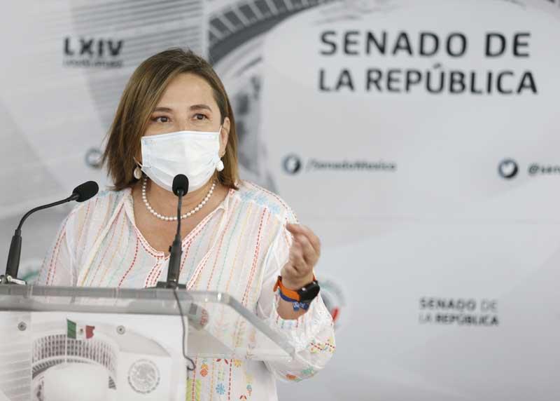 Conferencia de prensa ofrecida por la senadora Xóchitl Gálvez Ruiz y el senador Julen Rementería del Puerto, al término de la sesión ordinaria a distancia.